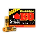 Brenneke Ammunition K.O. 20 Gauge 2.75 Inch 0.75 Ounce KO Foster Type Rifled Lead Slug With Attached Wad 1550 FPS Velocity at the Muzzle High Brass Polymer Cartridge Case Box of 5 Rounds