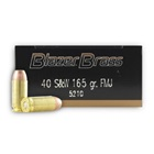 CCI Blazer Brass Ammunition .40 S&W ( Smith & Wesson ) 165 Grain Full Metal Jacket Flat Nose Bullet 1050 FPS Velocity at the Muzzle Brass Reloadable Boxer Primed Cartridge Case Box of 50 Rounds