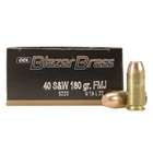 CCI Blazer Brass Ammunition .40 S&W ( Smith & Wesson ) 180 Grain Full Metal Jacket Flat Nose Bullet 985 FPS Velocity at the Muzzle Brass Reloadable Boxer Primed Cartridge Case Box of 50 Rounds