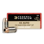 Federal Premium Ammunition Personal Defense .45 ACP 230 Grain Hydra-Shok JHP 900 FPS Velocity at the Muzzle Nickel Plated Brass Reloadable Boxer Primed Cartridge Case Box of 20 Rounds