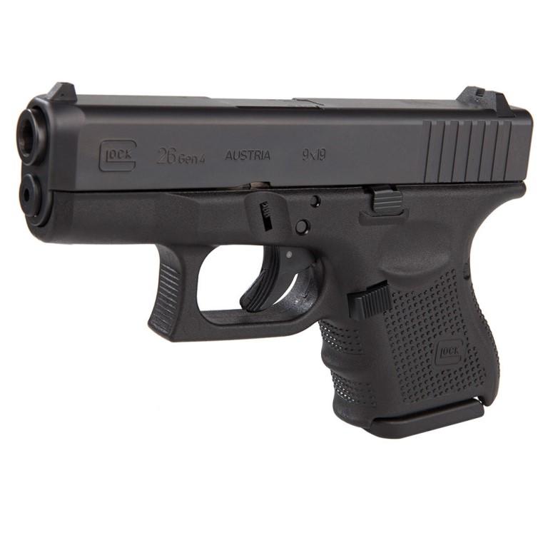 Glock 26 Gen4 9mm Black Nitride Steel Slide 3 47 Inch Barrel Fixed Sights  Dual Recoil Spring Assembly Black Polymer Frame Rough Textured Grip Safe
