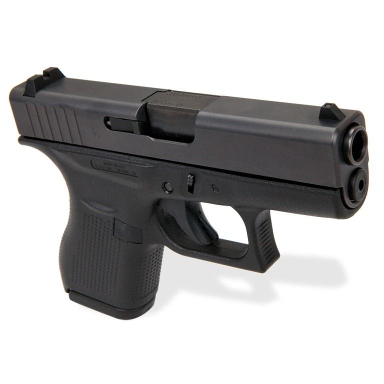 Glock 42 Slimline Subcompact Pistol  380 ACP Black Nitride Steel Slide 3 25  Inch Barrel Dual Recoil Spring Black Polymer Frame Rough Textured Grip