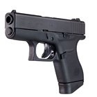 Glock 43 Slimline Subcompact Pistol 9mm Black Nitride Steel Slide 3.39 Inch Barrel Dual Recoil Spring Black Polymer Frame Rough Textured Grip Safe Action Trigger 6 Round Single Stack Magazine USA