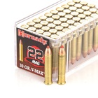 Hornady Rimfire Ammunition Varmint Express .22 WMR ( Magnum ) 30 Grain V-Max Polymer Tipped Copper Jacketed Lead Core Bullet 2200 FPS Velocity At The Muzzle Brass Cartridge Case Box Of 50 Rounds