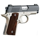 Kimber Micro Carry .380 ACP Two-Tone Matte Black Steel Slide Low Profile Sights 2.75 Inch Stainless Steel Barrel Aluminum Frame Rosewood Double Diamond Grips 6 Round And 7 Round Extended Magazines