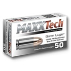 MaxxTech Ammunition 9mm Luger 115 Grain RN FMJ ( Round Nose Full Metal Jacket ) Non-Corrosive Boxer Primed Steel Cartridge Case Box Of 50 Rounds