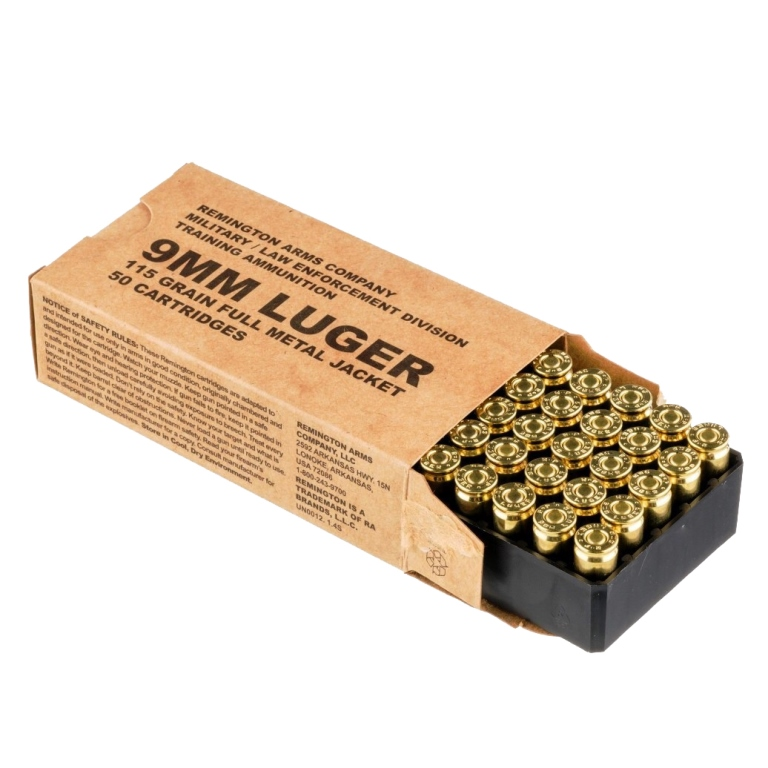 Remington Arms Company Ammunition Military / Law Enforcement 9mm Luger 115  Grain Full Metal Jacket Round Nose Bullet 1145 FPS Muzzle Velocity Brass
