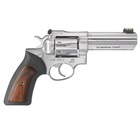 Ruger GP100 Revolver SA / DA Exposed Hammer Chambered .357 Magnum 4.2 Inch Barrel Fiber Optic Adjustable Sights Satin Stainless Steel Cylinder And Frame Black Synthetic Wood Insert Grip 7 Rounds