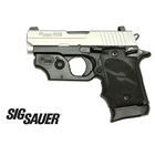 Sig Sauer P938 Compact 938 3 Inch Barrel Chambered in 9mm Luger Two-Tone Stainless Steel Slide and Black Anodized Frame SIGLITE Night Sights Molded Grip Sig Sauer Red Laser 6 and 7 Extended Magazine