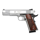 Smith & Wesson SW1911 E-Series .45 ACP 5 Inch Barrel Satin Stainless Steel Slide and Frame Front and Rear Fish Scale Serrations Low Profile White Dot Sights Wood Laminate Grips 8 Round Magazine