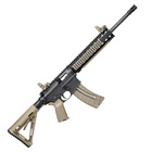 "Smith & Wesson Model M&P15-22 .22 LR MOE Flat Dark Earth FDE Rifle Quad Rail Handguard Carbon Steel 16.5"" Threaded Barrel with A1 Style Comp 6 Position Collapsible Stock MBUS Sights 25 Round Magazine"
