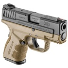 "Springfield Armory XD MOD.2 Sub-Compact Flat Dark Earth FDE 3.3"" 9mm Luger Steel Hammer Forged Barrel Fiber Optic Front and White Dot Low Profile Rear Sights 13 Round and 16 Round Extended Magazines"