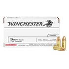 Winchester Ammunition USA Target 9mm Luger NATO 124 Grain Full Metal Jacket Round Nose Bullet 1140 FPS At The Muzzle Brass Reloadable Boxer Primed Cartridge Case Box Of 50 Rounds
