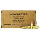 Winchester Ammunition Service Grade 9mm Luger 115 Grain Full Metal Jacket Flat Nose Bullet 1300 FPS Velocity At The Muzzle Brass Reloadable Boxer Primed Cartridge Case Box Of 50 Rounds