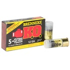Brenneke Ammunition K.O. 12 Gauge 2.75 Inch 1 Ounce KO Foster Type Rifled Lead Slug With Attached Wad 1650 FPS Velocity at the Muzzle High Brass Polymer Cartridge Case Box of 5 Rounds